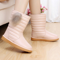 Free ship women  snow boots female winter casual  shoes calf-high plush lining fashion rabbit fur waterproof water