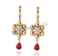 Free shipping!!!Brass,Christmas Gift, 18K gold plated, with cubic zirconia, nickel, lead & cadmium free, 41x14mm, Sold By Pair