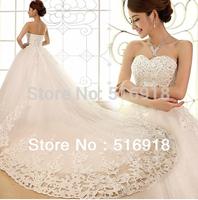 2014 Elegant A Line Spaghetti Strap Floor Length Sweep Brush Sequin Beaded Swarovski Crystals Lace Wedding Dresses Bridal Gowns