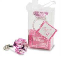 Wholesale Home Party Practical Creative Favor Heart-shaped Crystal Ring Keychain For Baby Bridal Shower Wedding Favor