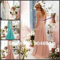 White Blush Pink Blue Chiffon Dresses Rhinestones Sequins Free Shipping Sweethart Bridesmaid Dress A-line Formal Dress B714