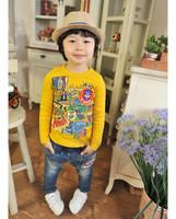 3 Colors Spring and Autumn Boy Children Long-sleeve Fashion Cool Cartoon T-shirt