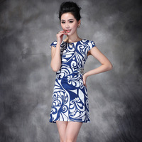 Women's Blue And White Porcelain Short Sleeve Mini Dress Plus Size XXXL New European American Brand 2014 Spring Summer Slim Lady