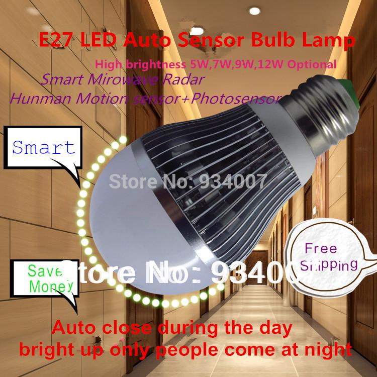 Factory Direct Sale Smart LED Sensor Light Bulbs E27 Ambient Light Sensor Radar Motion Detector Lamp 5W7W10W12W Freeshipping(China (Mainland))