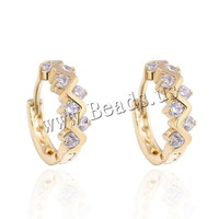 Free shipping!!!Brass,quality, 18K gold plated, with cubic zirconia, nickel, lead & cadmium free, 5mm, Sold By Pair