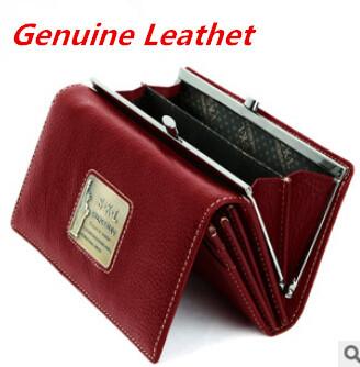 Free Shipping Womens Black Ladies Purse medium Long Design Genuine Leather Handbags Fashion Brand wallet(China (Mainland))