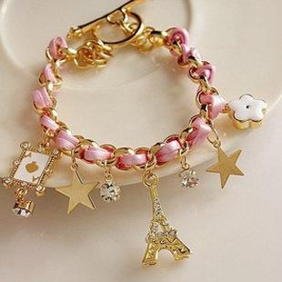 s004Braid Leather Eiffel Tower Star Горный хрусталь Leather Charm Bracelets Bangles ...