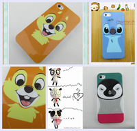 Free Shipping silicone TPU Case soft Rubber Cover Skin for apple iphone4 5 cartoon litter fox penguin case for iphone4s 5