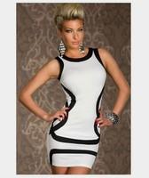 Free shipping!spring summer new slim fashion sexy classic black white women elegant evening party night club dress A466