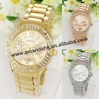 50pcs/lot,hot sale stainless steel geneva watch woman two row rhinestone metel watch fashion woman man shiny dress wristwatch.