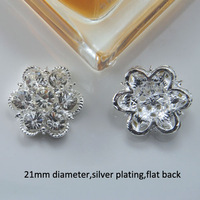(M0717) 21mm rhinestone embellishment ,silver or light rose gold plating, pearl or crystal style,flat back