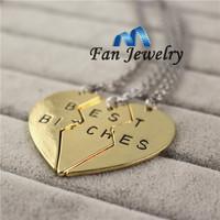 wholesale 2015 hotsale broken heart 3 parts best friends letter necklace  DMV411