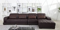 Classic Coffee Color Top Grain Leather Sofa, L shaped Sectional Sofa set 3.7M length House Furniture On Sale E308