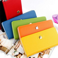 Designer Brand Pearl Zipper Women Leather Wallets Coin Purse Ladies 21*10.5cm 10 Colors Free Shipping W2008