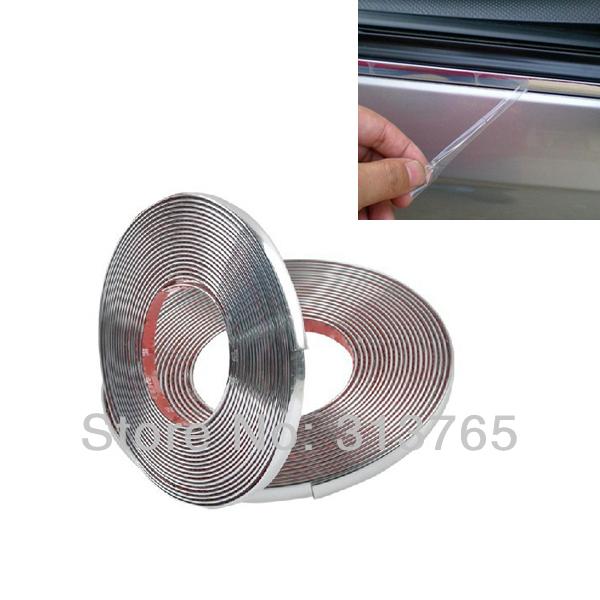 10mmx15m DIY Car Styling Door Moulding Trim Automotive Car Sticker Chrome Strip For Ford Chevrolet VW Cruze Mazda 3 Audi(China (Mainland))