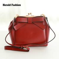 New Fashion Sweet Cowhide Genuine Leather Handbag Small Bow Clip All-Match Women Messenger Bag Shoulder Bag Portable Satchel Bag