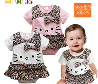 Retail 2014 new summer cotton   kids clothes  child clothing  for baby girls rompers hello kitty toddler