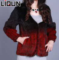Liqun 2013 new design gradiente color knitted real mink fur coat