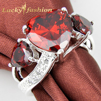 Free Shipping _ Newest Design Silver 925 Ring Fire Garnet  Red Zircon Heart Crystal Ring R0608+ Tracking number