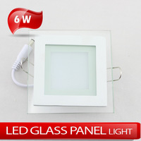 Square glass panellight 6W 5730SMD high brightness LED ceiling light AC85~265V warm white/cold white