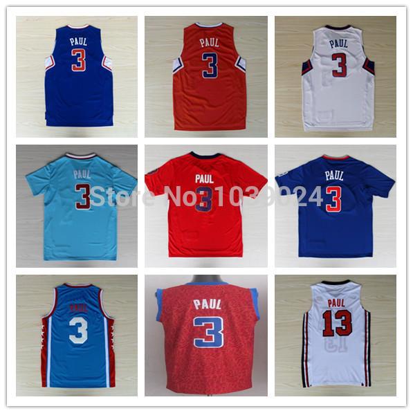 2014 NWT Christmas #3 Chris Paul Jersey Red Blue White PRO New Chris Paul Shirt Stitched Best Quality Chris Paul Jerseys Shop(China (Mainland))