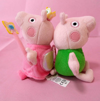 2pcs/lot New 2014 Mini Peppa Pig Plush Toys Magical Peppa Princess Cartoon Soft Toy Pepe George Pig Baby Kids Girls Doll Gifts