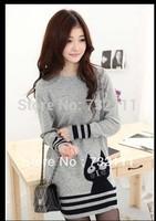 2015 New Korea Style Women's Black Cat Pattern Stripe Long Sleeve Knitted Sweater Ladies Casual Fashion Loose Crochet Pollover