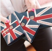 FREE SHIPPING!!2014New Fashion the Union Flag princekin pu leather long lady women wallets purse handbag