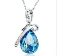 Joias Classic female Jewelry  925 silver  Blue water drop crystal pendants necklace colar with pingente joyas bijoux Schmuck
