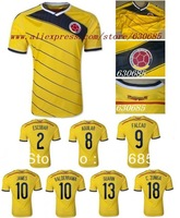 New arrival 13/14 Colombia falcao james aguilar escobar guarin home yellow best quality fans version soccer football jersey