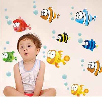 Free Shipping Cartoon Blisters,Clownfish And Starfish Undersea PVC Removable Wall Sticker Home/Bathroom Decor Wall Art Wallpaper(China (Mainland))