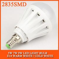 5PCS/lot High brightness LED Bulb Lamp E14 2835SMD 5W 7W 9W 12W AC220V 230V 240V Cold white/warm white Free shipping