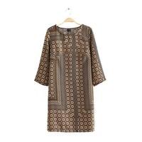 Lady vintage polyester dots print o-neck half sleeves regular knee length straight dress 229730