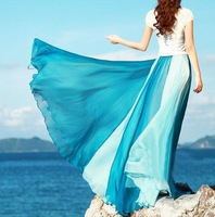 Free Shipping new fashion women's beach 8 meters ultra long silk chiffon skirt expansion bottom full long color block M/L/XL