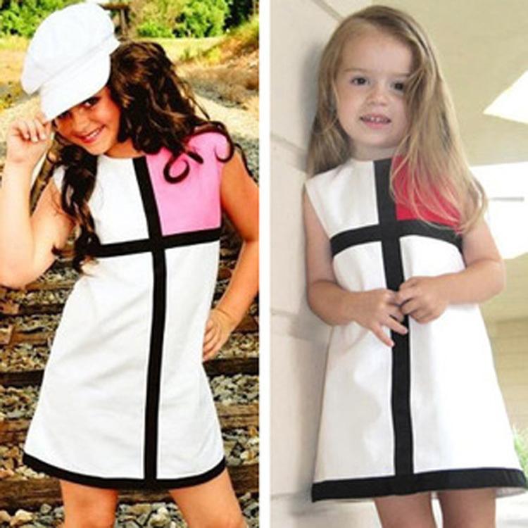 2-7 Years Baby Girls Dress 2015 summer Girl dress fashion brand Splicing kids party Birthday dress princess Red Pink vetement(China (Mainland))