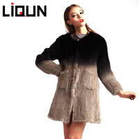 gradually changing color real mink fur coats for women