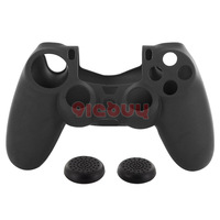 1 PCS Silicone Skin Case Cover+2 PCS Joystick Thumb stick Cap for Sony PS4 Controller,Black