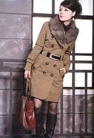 Fashion Women's Coats Winter Warm Long Coats Faux Fur Jackets women 4 Colors with new feather belt