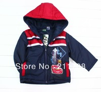 New children Style Hot Boy's coat  hooded  Jacket  Warm Cartoon coat Navy blue coat child cotton-padded clothes