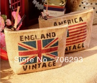 Zakka linen storage bag eco-friendly bag The national flag design Card package  England flag /American flag bag  free shipping