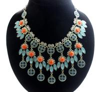 Fashion luxury necklace 2014 Blue Feather Shape And Drop Pendant Orange Gems Necklace Women Free ShippingJP121104
