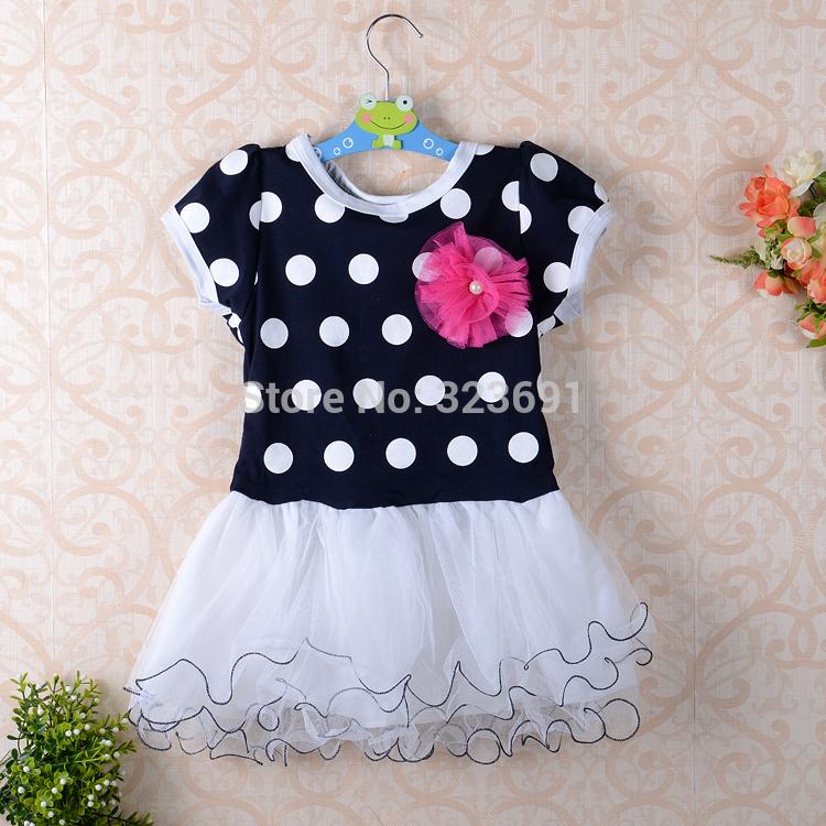 Dark blue and pink short sleeve dots stripe flower kids girls fashion dresses girl dress 2013 summer free shipping(China (Mainland))