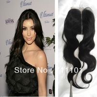 Free Shipping!Top Selling Malaysian Virgin Human Hair  Body Wave Lace Front Closures 2pcs/lot with Middle Parting Natural Color