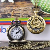 New Arrival Fashion Jewlery Rose Hollow Antique Bronze Steampunk Cute Fashion Pocket Watch 19322 Z