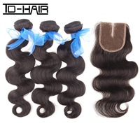 Grade 6A indian virgin hair body wave Hair bundles with Middle Part Lace Closure Natural Color 1b# Virgin Indian Hair Body Wave