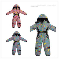2014 new free shipping Windproof waterproof child one piece ski suit male female child thickening thermal professional ski suit