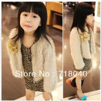 New 2014 Fashion Baby Girl Outerwear Child Girls Long sleeve Coat and Leopard Print Dress 2pcs/set  Hot Sale High Quality