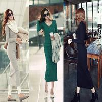Free Shipping 2014 Newest High Quality Fashion Sexy Slim Long-sleeve Plus Size S-XXL Lady Elegant One-piece Dress LBR8813