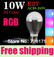 3pcs/lot High Quality LED Bulb RGB 10W  E27 16colors RGB LED Light Lamp Spotlight with Remote Control 85-265V ,Free shipping