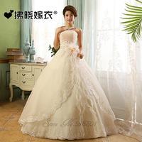 2014 clothing sleeveless white champagne Strapless lace wedding dress long sections vestido de novia vestido de noiva  022
